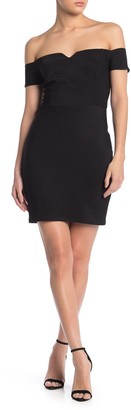 Jump Notched Off-the-Shoulder Bodycon Dress