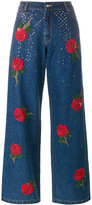 Ashish rose embroidered sequin jeans - women - Cotton - XS