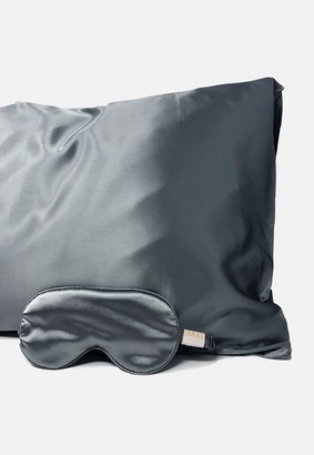 Missguided Smug Light Grey Silk Sleep Mask And Pillowcase Set