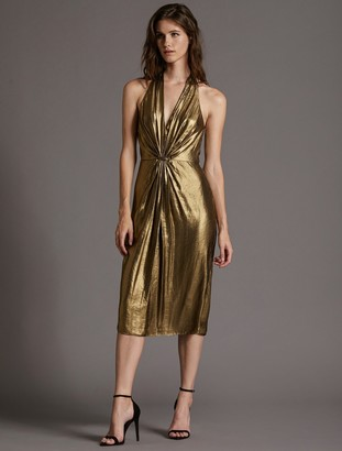 Halston Foil Georgette Dress