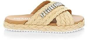Prada Women's Embellished Raffia Flatform Sandals