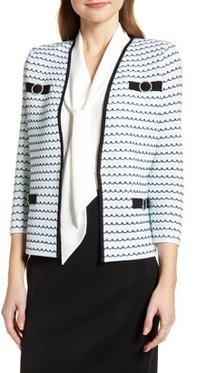 Ming Wang Tweed Collarless Jacket