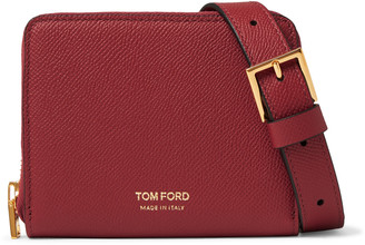 Tom Ford Full-Grain Leather Zip-Around Wallet with Lanyard - Men - Red