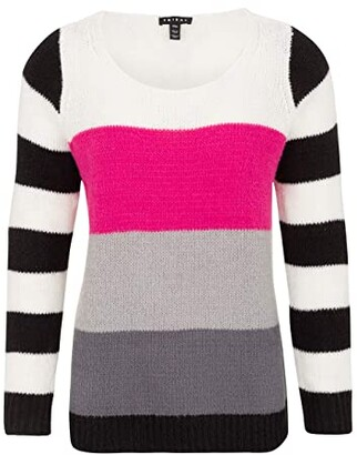 Tribal Long Sleeve Color-Block Sweater (Hot Pink) Women's Sweater