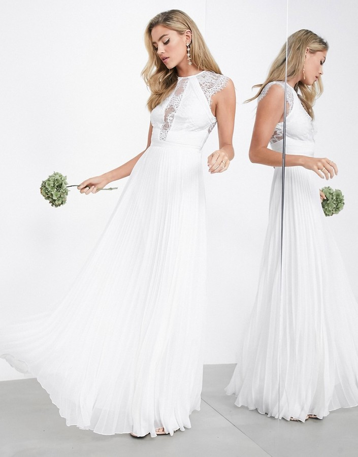 ASOS EDITION Ruby delicate lace bodice wedding dress with pleated skirt