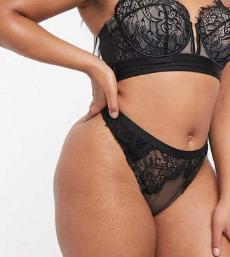 ASOS DESIGN Curve Layla high waist thong with layered lace & mesh