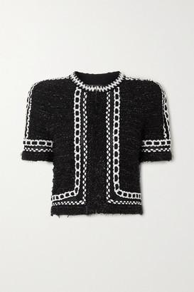 Balmain Cropped Embroidered Metallic Tweed Jacket - Black