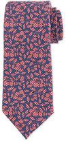 Isaia Check-Floral Printed Silk Tie