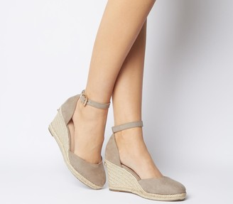Office Marsha Closed Toe Espadrille Wedges Taupe With Gold Branding