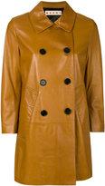 Marni leather pea coat - women - Lamb Skin/Viscose - 40