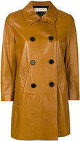Marni leather pea coat - women - Lamb Skin/Viscose - 42