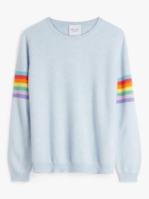 Trilogy Cashmere Summer Rainbow Stripe Jumper, Sky Blue Marl
