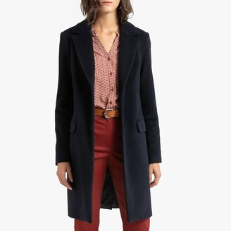 Anne Weyburn Wool/Cashmere Mix Single-Breasted Coat with Pockets