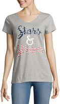 ST. JOHN'S BAY St. John's Bay Flag Short Sleeve V Neck T-Shirt-Womens