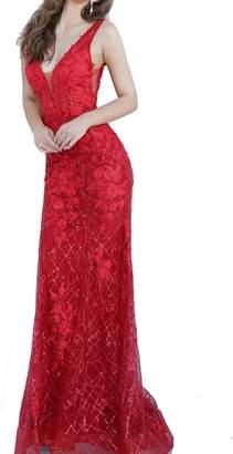 Jovani Floral Applique V-Neck Gown