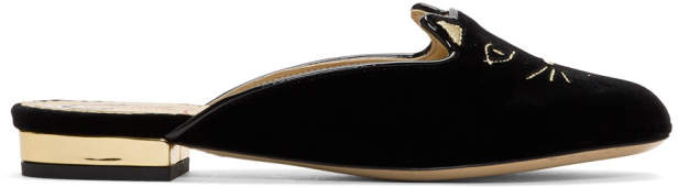 Charlotte Olympia Black Velvet Kitty Slippers