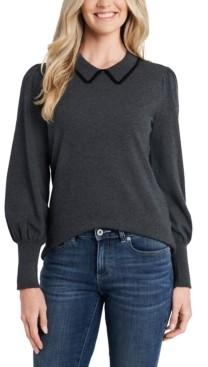 CeCe Puff-Sleeve Collared Sweater
