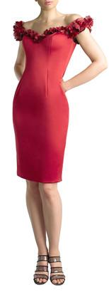 Basix II Off-the-Shoulder Rosettes Scuba Dress