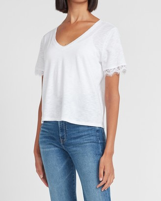 Express Skimming Lace Trim V-Neck Tee