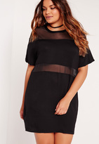 Missguided Plus Size Mesh Insert Oversize dress Black