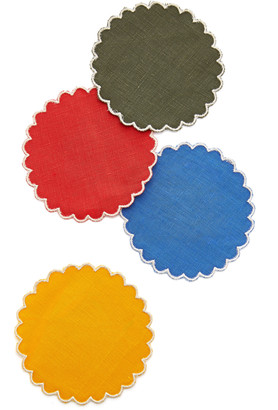 Los Encajeros Set-Of-Four Linen Sun Coasters