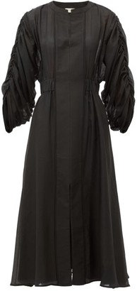 ZEUS + DIONE Rhea Rouched-sleeve Cotton-blend Dress - Black