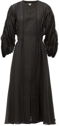 ZEUS + DIONE Rhea Rouched-sleeve Cotton-blend Dress - Womens - Black
