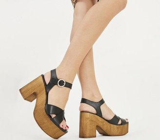 Office Marzipan Block Cross Strap Sandals Black Leather