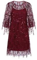 Dorothy Perkins Womens *Girls On Film Burgundy Fringe Sequin Dress, Burgundy