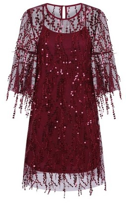 Dorothy Perkins Womens Girls On Film Burgundy Fringe Sequin Dress, Burgundy
