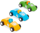 Blue, Yellow & Green Pull-Back Race Car Toy Set