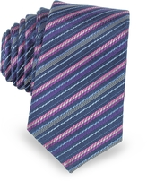 Laura Biagiotti Navy Blue and Pink Diagonal Stripe Woven Silk Extra-Narrow Tie