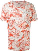 Majestic Filatures leaf print T-shirt - men - Linen/Flax - L