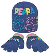 Peppa Pig Child Girls/ Boys Winter 2 Piece Navy Hat And Gloves Set