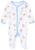 Laura Ashley Baby Boys' Footies - White & Light Blue Teddy Bear Footie - Newborn & Infant