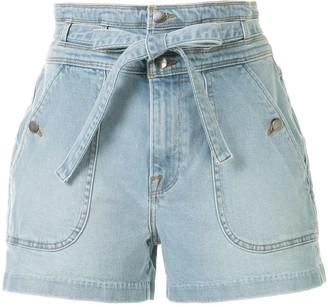 Frame Belted High-Waisted Denim Shorts