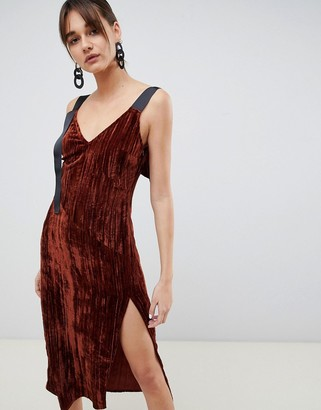 Asos velvet midi cami dress-Brown