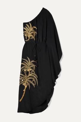 Figue Maisie One-shoulder Embellished Embroidered Crepe De Chine Dress - Black