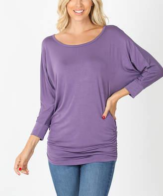 Zenana Women's Blouses LILAC - Lilac Gray Side-Ruched Dolman Top - Plus