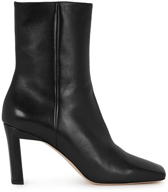 Wandler Isa 85 Black Leather Ankle Boots