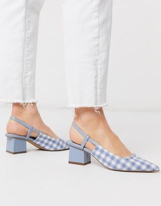 ASOS DESIGN Steele slingback block heels in blue gingham