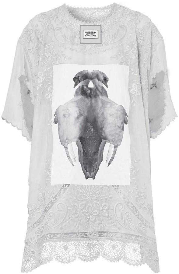 Burberry laced swan print T-shirt dress