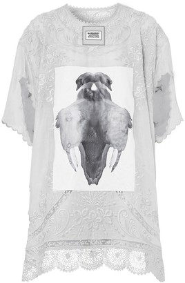 Burberry laced swan print T-shirt dress