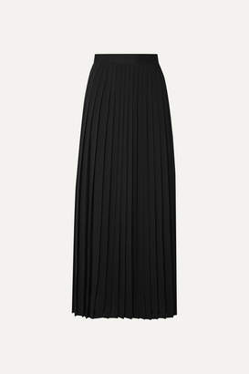 The Row Lawrence Pleated Crepe De Chine Midi Skirt - Black