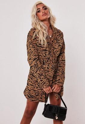 Missguided Tall Brown Leopard Print Blazer Dress