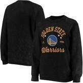 G Iii Women's G-III Sports by Carl Banks Black Golden State Warriors Slouchy Comfy Cord Crewneck Pullover Sweatshirt
