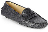 Tod's Glitter Tweed-Print Leather Moccasin Drivers