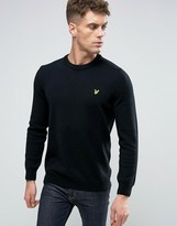 Lyle & Scott Crew Knit Sweater Lambswool Eagle Logo in Black