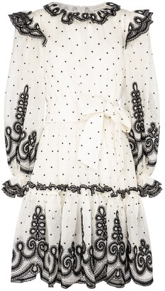 Zimmermann The Lovestruck polka-dot linen and silk organza minidress
