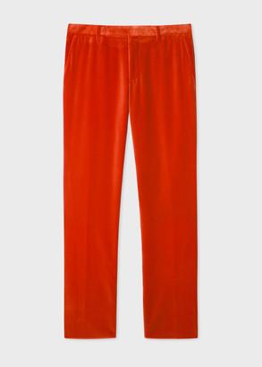 Paul Smith Men's Slim-Fit Bright Red Velvet Trousers